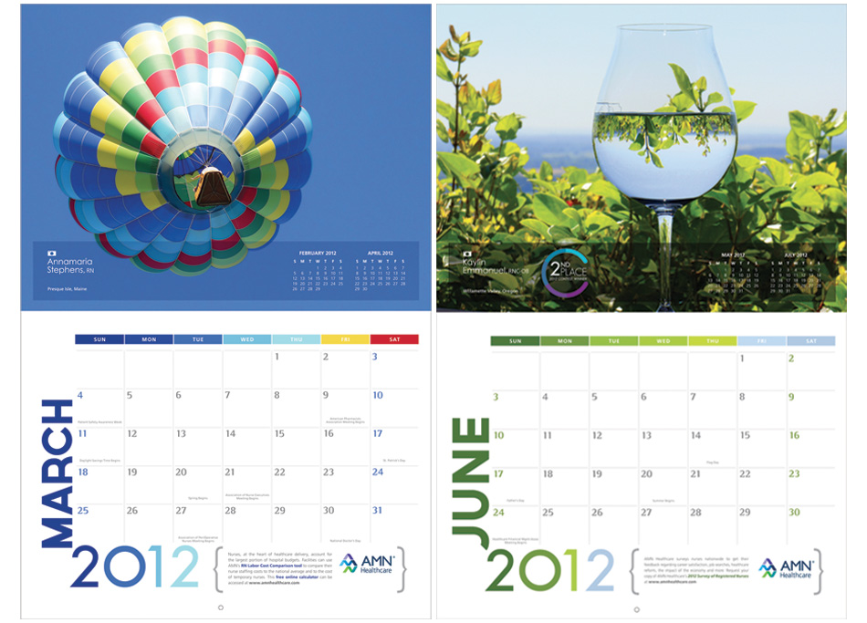 Health Calendar Design : Amn healthcare calendars juansierradesign